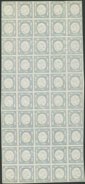 Provinces napolitaines 1861 - 50 grana pearl grey, full sheet of 50 pieces. - Sassone N. 24