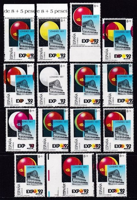 Spanien 1989 - Universal Exhibition in Seville. 15x different varieties with shifted colour - Edifil 2990