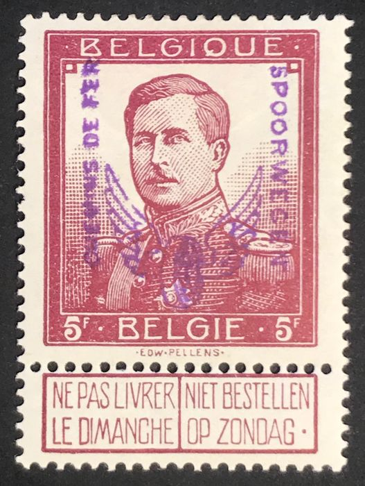 Belgien 1915 - Railway stamp - With inspection marks of, amongst others, Gelli & Tani - Luxury centred - OBP / COB TR57