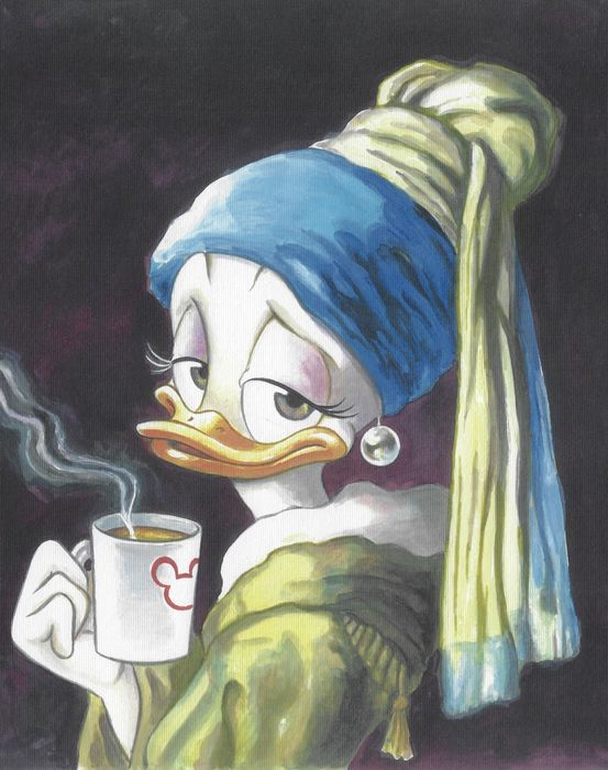 """Daisy Duck Inspired by Vermeer's """"Girl with a Pearl Earring"""" - Giclée Signed By Tony Fernandez - Eerste druk"""