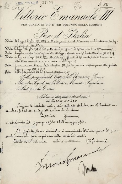 Benito Mussolini - Vittorio Emanuele III - Autograph: Official Decree for Advancement of Military Rank by Seniority - 1927