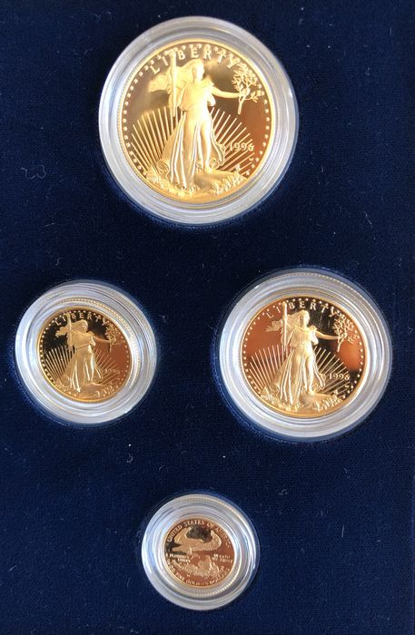 United States. Proof Gold coins Set (5, 10, 25 and 50 Dollars) 1996 American Gold Eagle