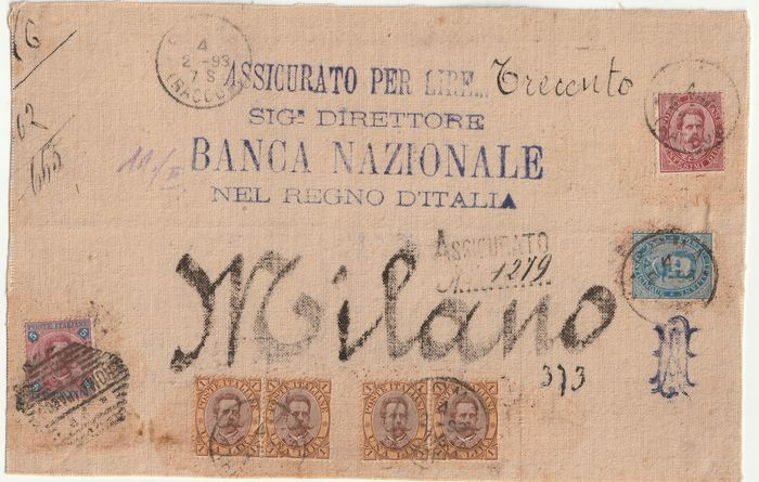 Koninkrijk Italië 1893 - Umberto four-colour piece with the very rare 5 l. on front of an insured letter L300 from Rome to - Sassone NN.64+48+37/38
