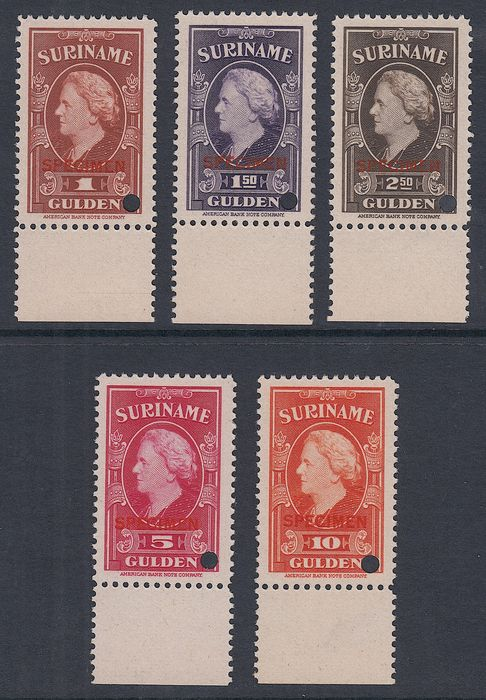 Suriname 1945 - Queen Wilhelmina with overprint 'specimen' and perforation hole - NVPH 239/243