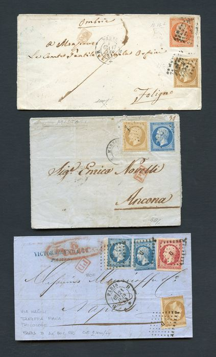 France 1850/1870 - 9 letters and a front with several interesting postage stamps