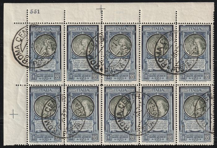 Royaume d'Italie 1932 - Dante airmail 100 l. wonderful block of 10, sheet corner, plate number, used, very rare and - Sassone N.41