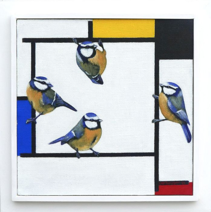 Jos Verheugen - Free after Mondrian, with blue tits (M673)