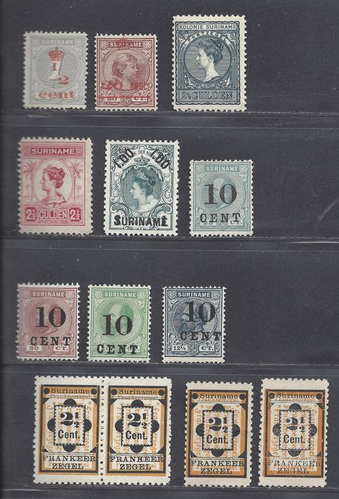 Suriname 1900/1909 - Various denominations, amongst others: King Willem III and Queen Wilhelmina - NVPH 22, 22a, 22/22a, 29, 31, 32, 33, 35, 57, 60, 63, 103