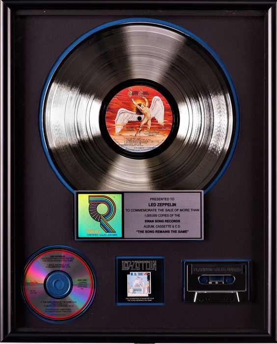 Led Zeppelin - The Song Remains The Same - Presented To Led Zeppelin - Official RIAA award - 1986/1976