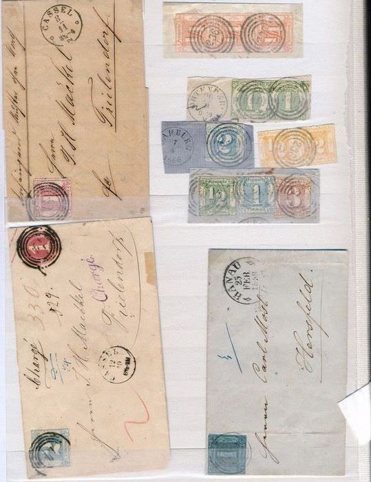 Thurn und Taxis 1852/1866 - Extensive collection of +/- 500 stamps and 22 covers with many better items dabei Nr. 13, 3er Streifen, diverse Stempel