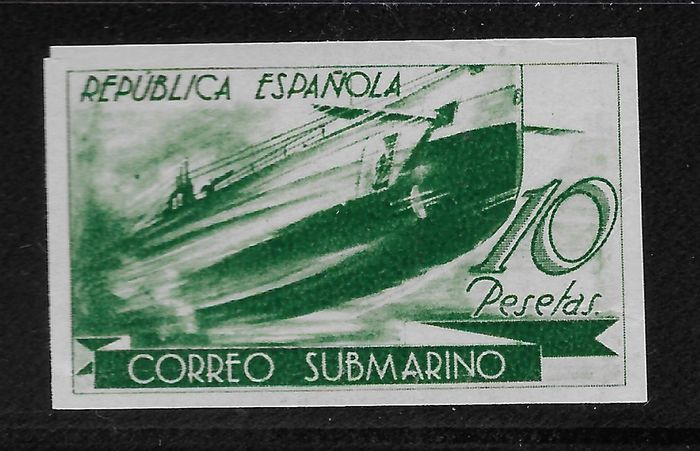 Spain 1938 - Submarine. 1 stamps, colour change, imperforated - Edifil 779ccas