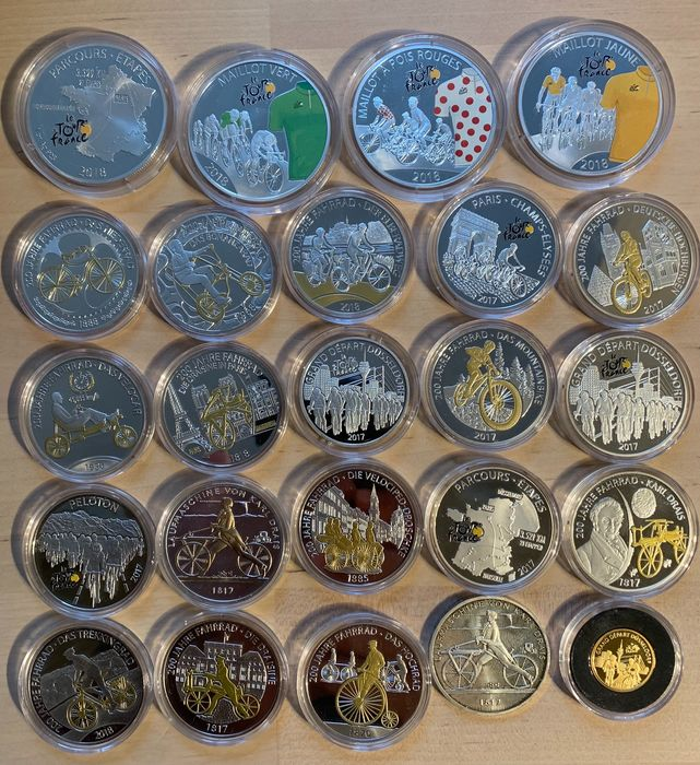 Deutschland, Frankreich. Lot various coins and medals (24 pieces) incl. gold medal