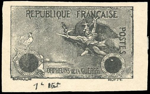 Frankreich - 20th century La Marseillaise Proof in black. No number in the cartridge. Rooster proof. - Yvert 154