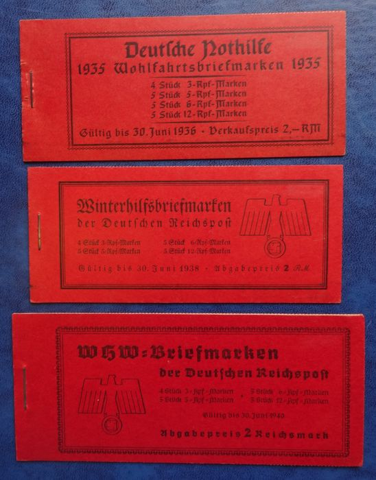 German Empire 1935/1939 - Three special stamp booklets 'Nothilfe' and 'Winterhilfswerk'. - Michel MH41, MH44, MH46