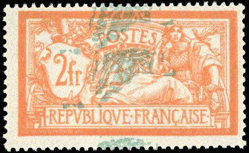 France - 20th century,  Type Merson,  2 francs orange and green blue. Very shifted double background colour. - Yvert 145a