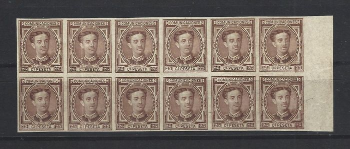 Spanje 1876 - Block 12 stamps Alfonso XII imperforated - Edifil 177s