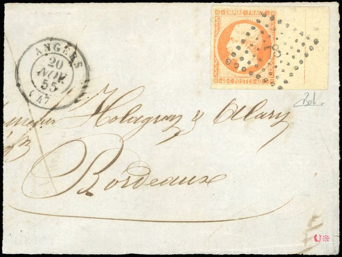 France - 40 centimes  Yellow-orange with a frame line cancelled on the front side of a letter bound for - Yvert 16c