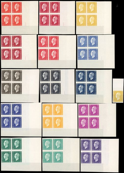 France - 20th century Dulac Series of 15 different colours. Sheet edge. Paris print imperforate - Yvert 701