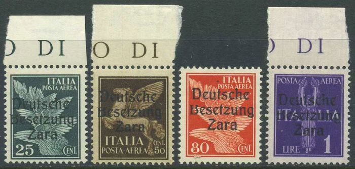 """Zara 1943 - Airmail, 4 values with """"B cut at the top"""" variety, position 3 - Sassone A1d-A2d-A4d-A5d"""