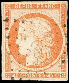 France - Ceres, 1849-1950 - 40 centimes  orange, small figures cancellation 'retouched 4' variety Superb and - Yvert 5d