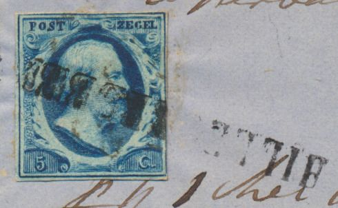 Pays-Bas 1852 - Local letter cover with name cancellation 'Hillegersberg' (Rotterdam) on stamp on letter - NVPH 1