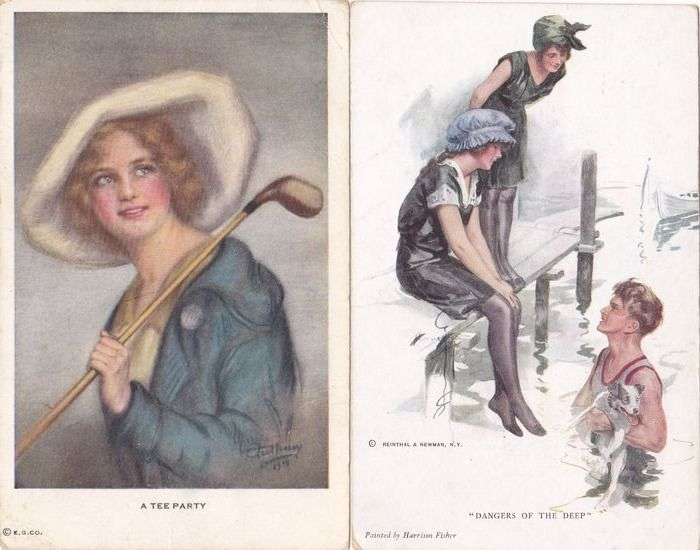 Fantasy, Art Art Nouveau ladies, with hats - horses - romance, mostly signed ge - Postcards (Collection of 104) - 1900