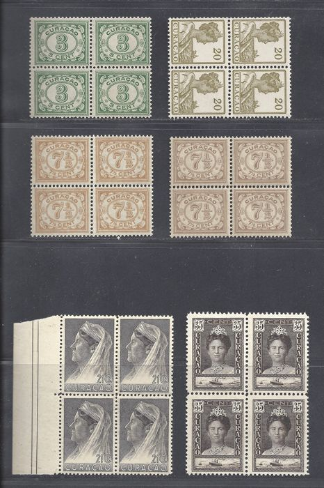 Curaçao 1915/1931 - Numeral and Wilhelmina in blocks of four - NVPH 50, 54, 54Aa, 63, 99, 131