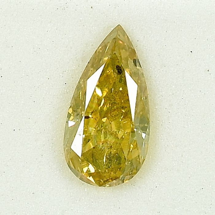 Diamant - 0.75 ct - Poire - Natural Fancy Yellow - SI3