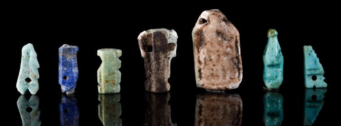 Ancient Egyptian Faience and Stone Group of Seven Amulets