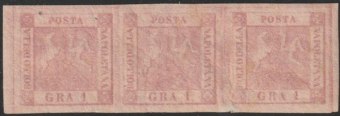Italienische Antike Staaten - Neapel 1858 - 1 gr. 1st plate, strip of 3 with good margins with variety, mint with full gum, very rare and - Sassone N.3+3g