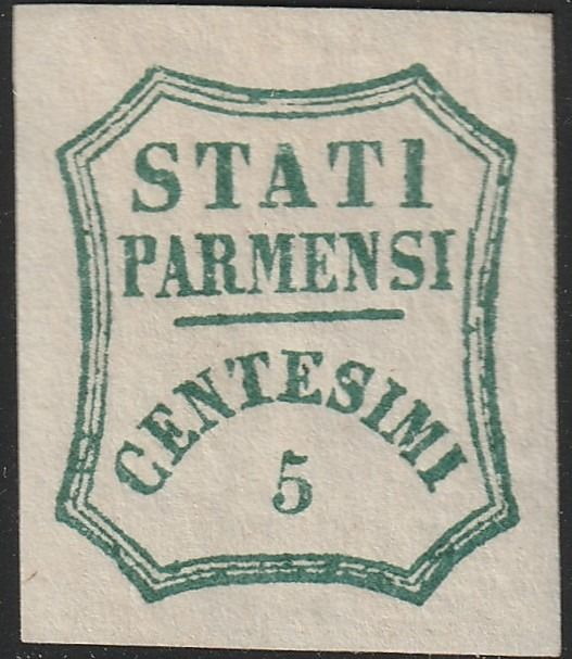 Italiaanse oude staten - Parma 1859 - Provisional Government 5 c. light blue green, huge margins, mint with full gum, rare and certified - Sassone N.12