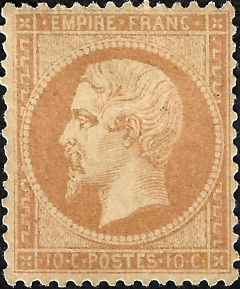 Francia 1862 - Empire, perforate, 10 centimes bistre. - Yvert 21