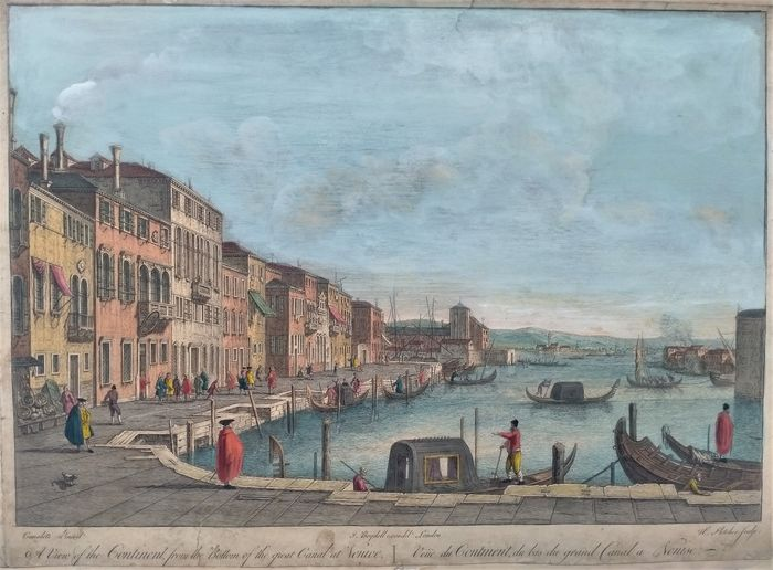 Italien, Veneto, Venezia; Henry Fletcher / John Boydell - A view of the Continent from the Bottom of the Great Canal at Venice - 1721-1750