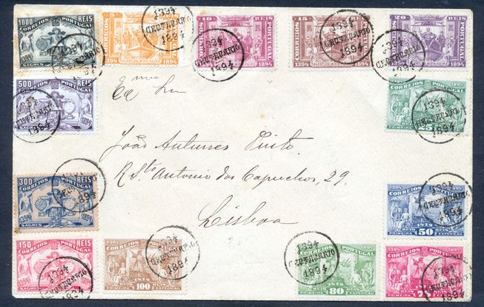 Portugal 1894 - 5th centenary of the birth of Infante D. Henrique, complete series in envelope. - Mundifil 98/110