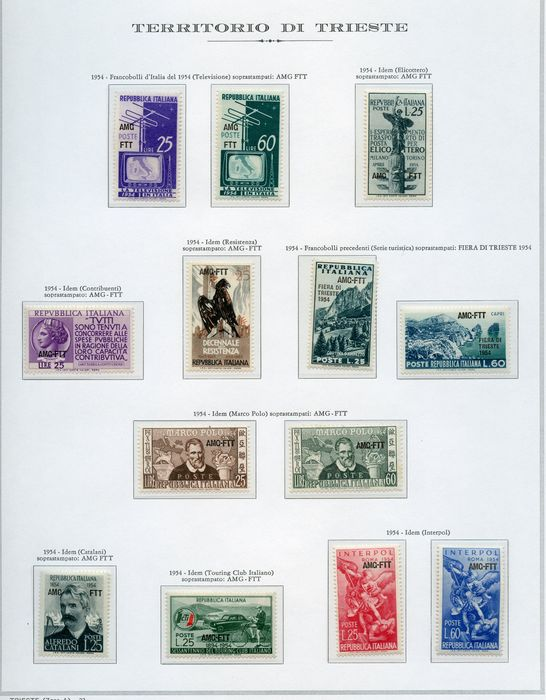 Triëst - Zone A 1947/1955 - Stamps on pre-printed sheets