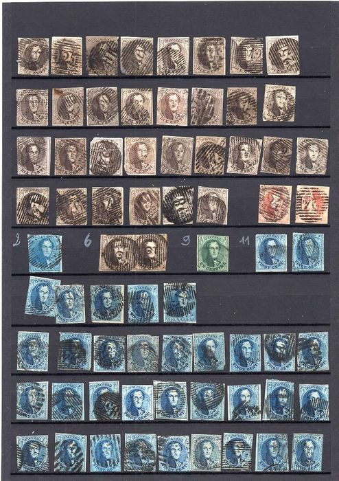 Belgien 1849/1863 - Batch of stamps between nos. 2 and 16 Perforation has been checked - OBP / COB