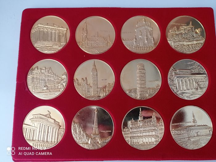 Europa. Bronze medal 'First Members EU' (12 pieces) 50 mm and 61 gram each - Gold plated
