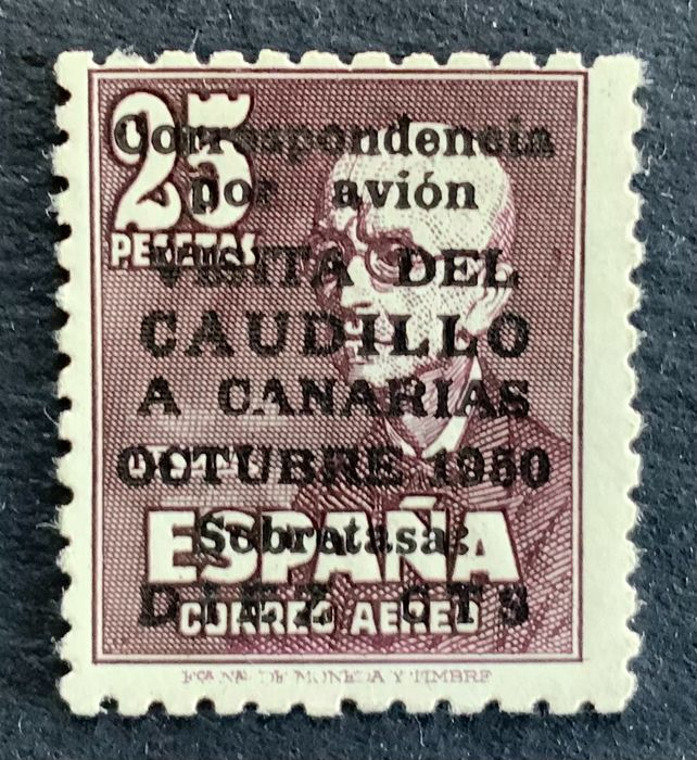 Spain 1951 - 'Visita del Caudillo a Canarias' (Visit of Franco to the Canary Islands) airmail - Edifil 1090