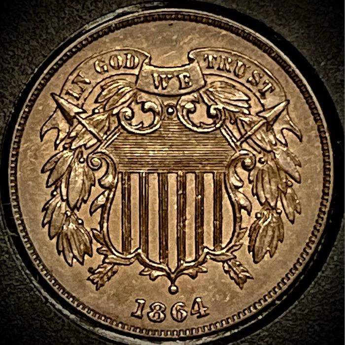 USA. 2 Cents 1864 2C Large Motto, BN