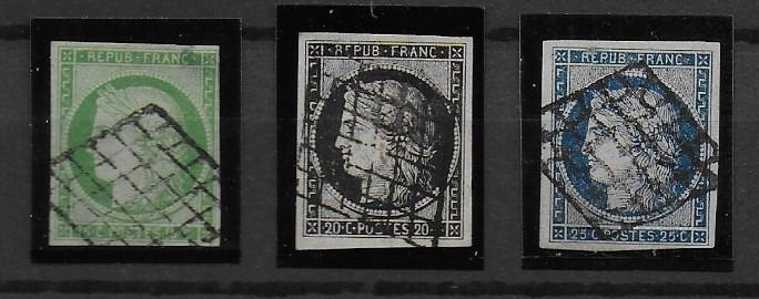 France 1849/1850 - Set of Ceres - First French stamps. - Yvert N° 2 - 3 - 4