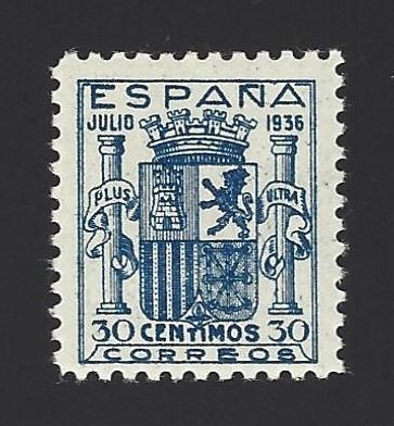 Spanien 1936 - Coat of arms of Spain-Granada well centred with certificate - Edifil 801