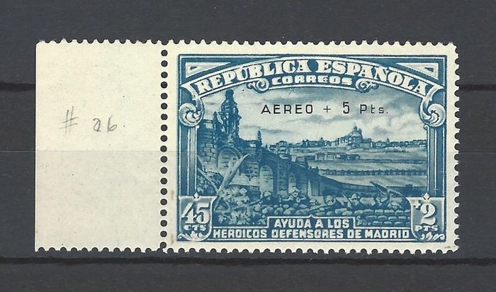 Espagne 1938 - Siege of Madrid Airmail - well centred - Edifil 759