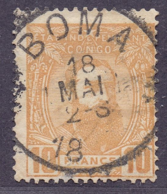 Belgian Congo 1887 - Leopold II looking three-quarters to the right: 10F yellow-ochre - The largest denomination of the - OBP / COB 13 met centrale stempel BOMA