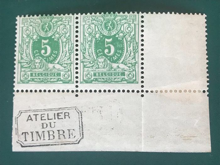 Belgio 1884 - 5 centimes Lying lion in pair with 'Atelier Du Timbre' - OBP / COB 45