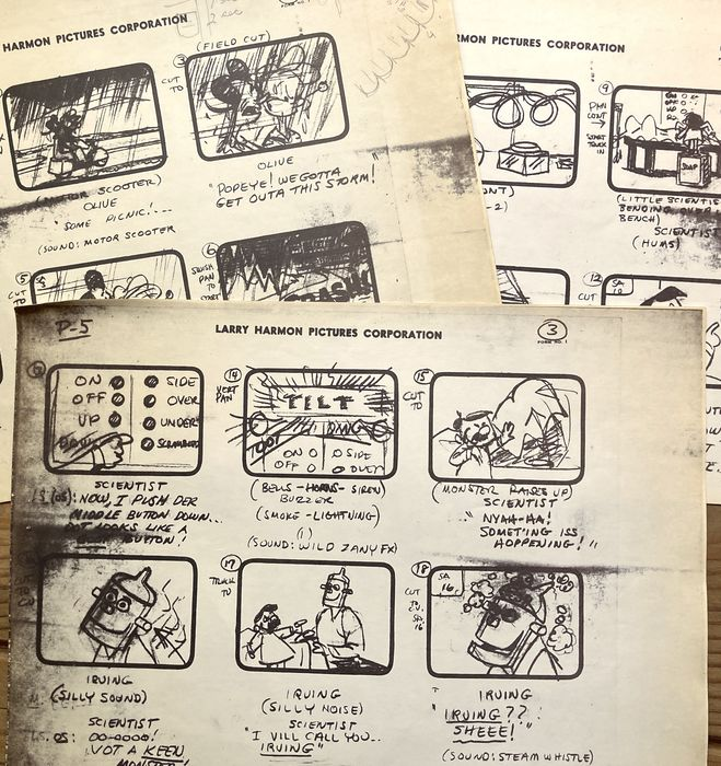 Popeye - Original Copy Story-Board for the production of POPEYE - 1960