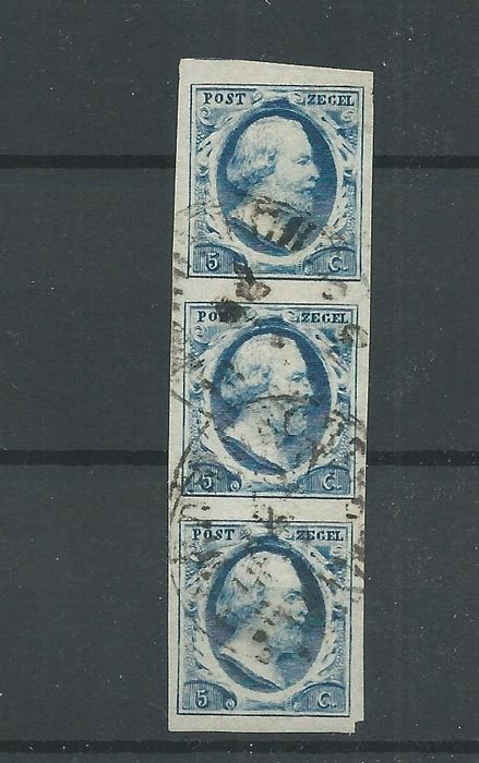 Netherlands 1852 - King Willem III in a vertical strip of three - NVPH 1