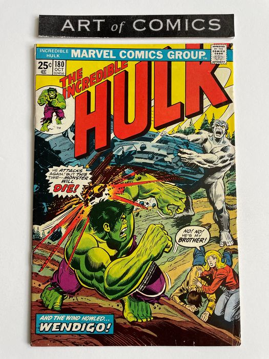 The Incredible Hulk #180 - True 1st Appearance Of Wolverine - Wendigo Appearance - Marvel Value Stamp Present! - Higher Grade!!! - Very Hot Key Issue!!!!! - Softcover - Eerste druk - (1974)