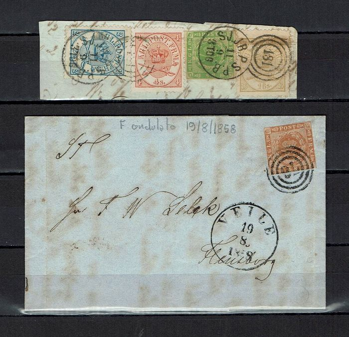 Denemarken 1851/1864 - Wonderful mixed franking with laurel wreath and crown insignia in double oval