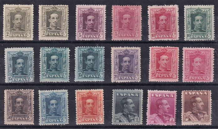 Spanien 1922/1930 - Alfonso XIII Vaquer type. Complete set of 18 values. - Edifil 310/323 + 310A , 315A , 315B y 317A