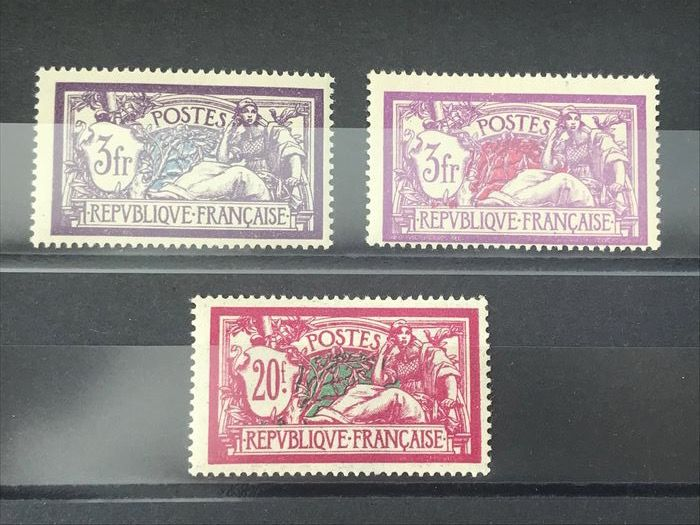 France 1925/1927 - Three stamps type 'Merson' - Maury 206/207 en 240